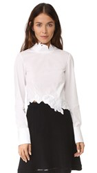 3.1 Phillip Lim Long Sleeve Crop Top With Embroidery White