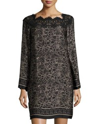 Max Studio Lace Trim Floral Print Shift Dress Black Pattern