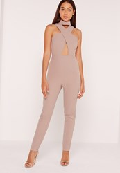 Missguided Crepe Cross Front Choker Jumpsuit Nude Grey