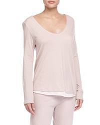 Double Layer V Neck Organic Top Tea Rose