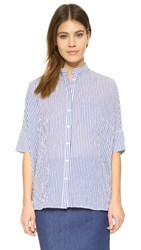 Steven Alan Oversized Stand Collar Shirt Blue White Bengal