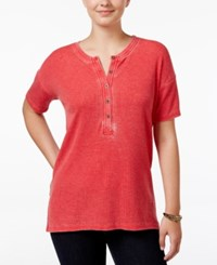 G.H. Bass And Co. Short Sleeve Burnout Dyed Top Strawberry