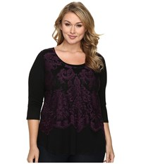 Karen Kane Plus Size Lace Overlay Top Eggplant Women's Clothing Purple