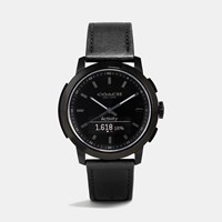 Coach Bleecker Smart Ionized Plated Leather Strap Watch Black