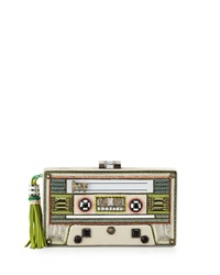 Mary Frances Beaded Faux Leather Tape Deck Clutch Bag White Lime