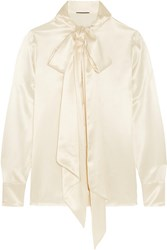 Saint Laurent Pussy Bow Silk Satin Blouse Ivory