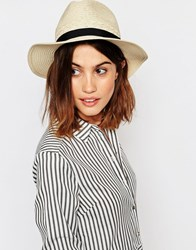 Warehouse Straw Panama Hat Neutral Beige
