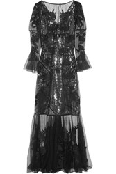 Erdem Leanne Embroidered Silk Organza And Swiss Dot Tulle Gown Black