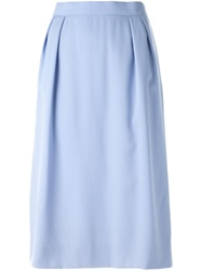 Celine Vintage Pleated Waist Pencil Skirt Blue