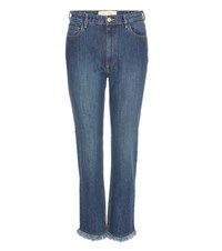 Each X Other Cropped Frayed Jeans Blue