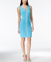 Calvin Klein Sleeveless Rhinestone Dress Neon Blue