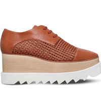 Stella Mccartney Elyse Straw Flatform Derby Shoes Tan