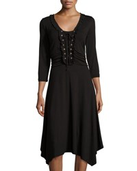 Max Studio 3 4 Sleeve V Neck Lace Up Dress Black