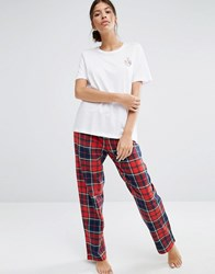 Pieces Wilma Checked Pyjama Bottoms Red