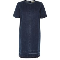 River Island Womens Dark Blue Wash Denim T Shirt Dress