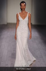 Women's Lazaro Beaded V Neck Slip Gown In Stores Only