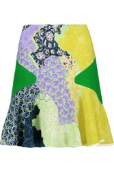 Peter Pilotto Fluted Printed Crepe Mini Skirt Yellow