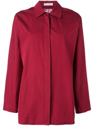 Nina Ricci Transparent Lace Panel Shirt Red