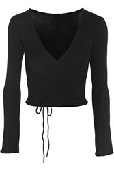Ballet Beautiful Belle Wrap Front Knitted Jersey Top Black