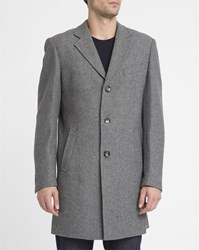 Knowledge Cotton Apparel Mottled Grey 3 Buttons New Wool Coat
