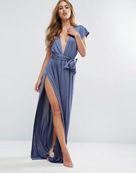 Asos Slinky Deep Plunge Belted Maxi Beach Dress Petrol Blue