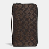Coach Double Zip Travel Organizer In Embossed Signature Canvas Mahogany