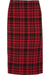 N 21 Plaid Cotton And Linen Blend Skirt Red