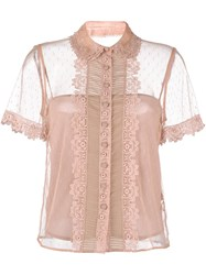 Red Valentino Lace Trimmed Tulle Blouse Nude And Neutrals