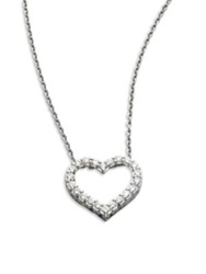 Roberto Coin Tiny Treasures Diamond And 18K White Gold Open Heart Necklace