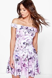 Boohoo Off The Shoulder Floral Skater Dress Multi
