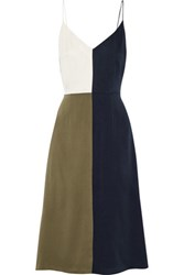 Tanya Taylor Poppy Color Block Washed Silk Blend Midi Dress Army Green