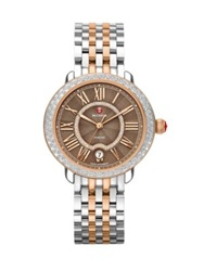 Michele Serein Diamond Enamel 18K Rose Goldplated And Stainless Steel Bracelet Watch Silver Rose Gold