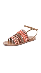 Tory Burch Mixed Trims Flat Sandals Poppy Red Multi