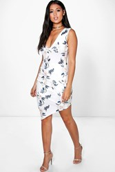 Boohoo Floral Wrap Skirt Asymetric Bodycon Dress Ivory