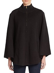 Saks Fifth Avenue Zip Front Turtleneck Sweater Black