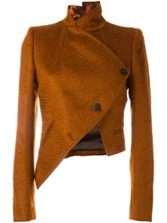 Ann Demeulemeester Cropped Asymmetric Jacket Yellow And Orange