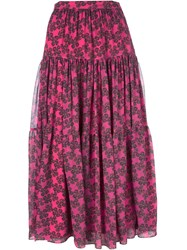 Saint Laurent Ruffled Floral Skirt Pink And Purple