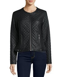 Max Studio Quilted Faux Leather Jacket Black