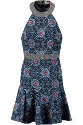 Matthew Williamson Printed Cotton Blend Twill Mini Dress Royal Blue