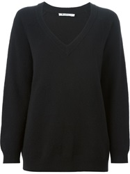 T By Alexander Wang Ribbed V Neck Sweater Black