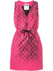 Moschino V Neck Drawstring Dress Pink Purple