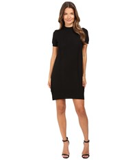 Vera Wang Short Sleeve Knit Dress W Tulle Back Black