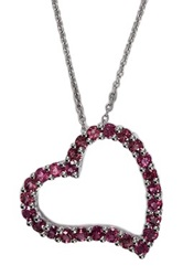 Effy 14K White Gold Pink Tourmaline Heart Pendant Necklace Red