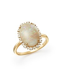 Bloomingdale's Opal And Diamond Statement Ring In 14K Yellow Gold White Gold