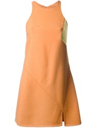 Jay Ahr Gold Tone Detail Short Dress Yellow And Orange