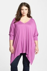 Sejour Shark Bite Hem Oversized V Neck Tee Plus Size Purple