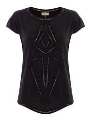 Label Lab Updated Cutwork Pattern Woven Mix Tee Charcoal