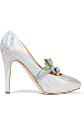 Moschino Iridescent Leather Pumps Metallic