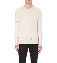Alexander Mcqueen Distressed Knitted Cashmere Jumper Ivory