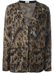 Saint Laurent Leopard Print Cardigan Nude And Neutrals